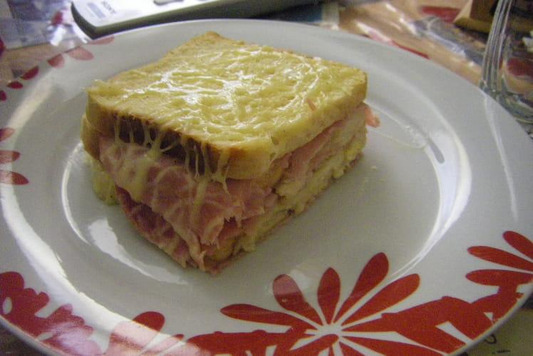 Pain perdu au four jambon-fromage