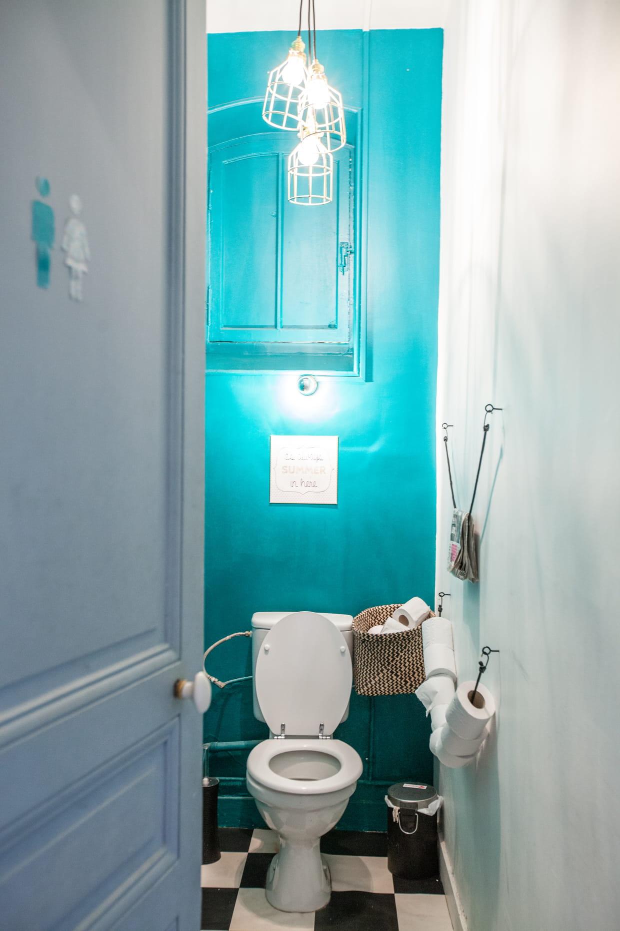 des toilettes turquoise. Black Bedroom Furniture Sets. Home Design Ideas