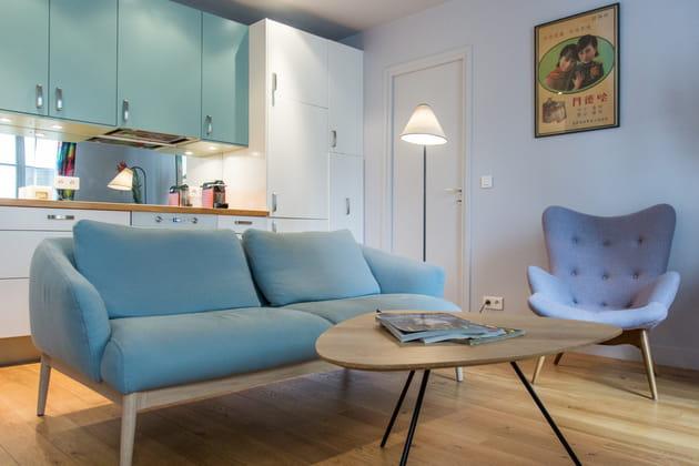 Salon bleu givré et gris
