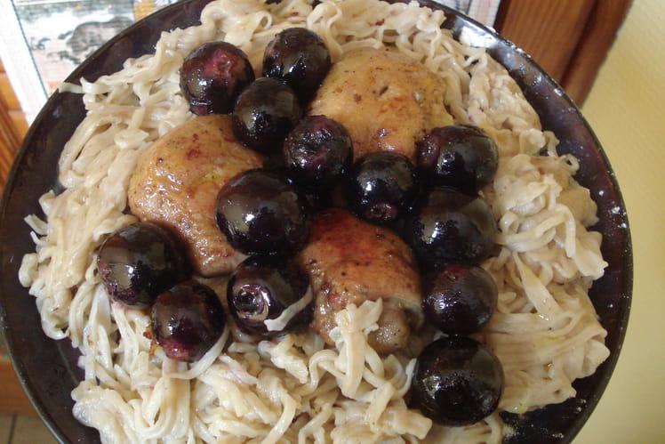 Nid de linguine aux oeuf de foie gras et raisin
