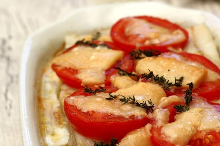 Pavé de lieu à la tomate, parmesan et thym