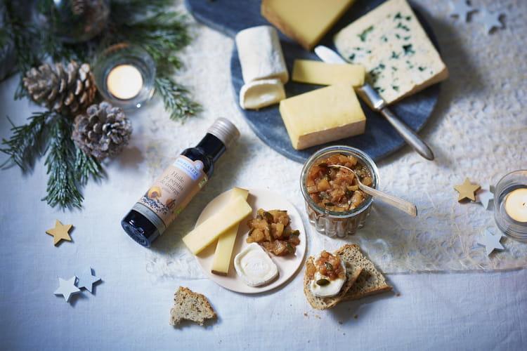 Plateau de fromage et moutarde de poire à l'huile de pépins de courge grillée par Bio Planète
