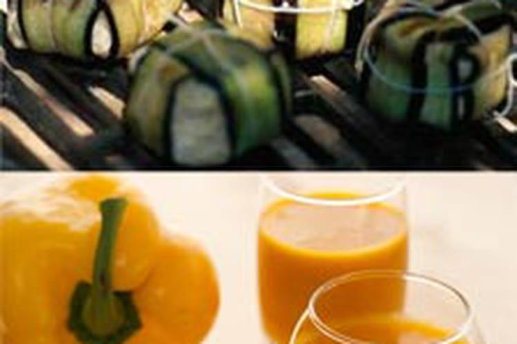 Soupe froide de poivrons doux et épices accompagnée de ballotins d'aubergines et thon