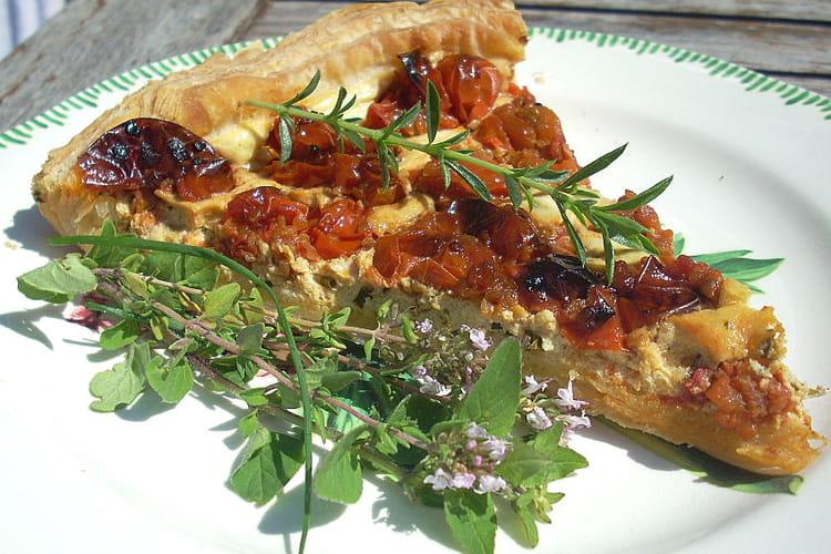 Tarte au chèvre frais et tomates cerises confites