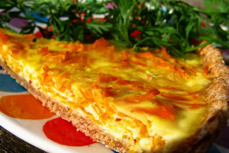 Tarte à la carotte, oignons et fromage