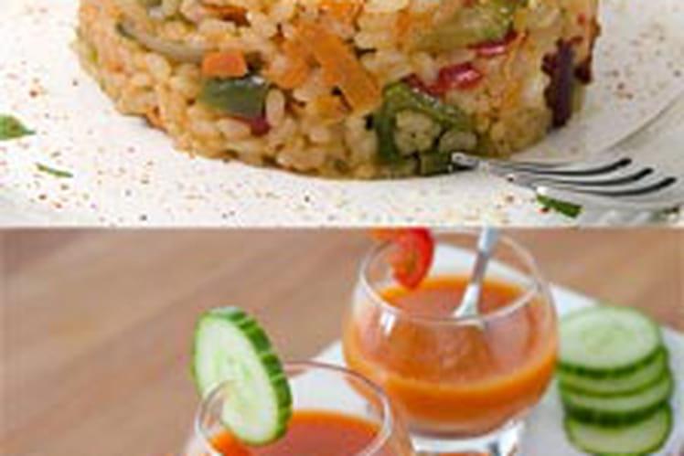 Gazpacho et son risotto au chorizo et parmesan