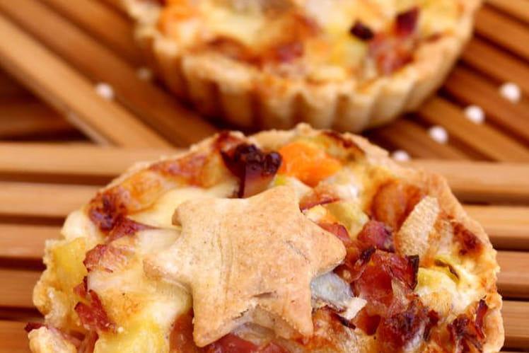 Tartelette patates douces, speck et vieux comté