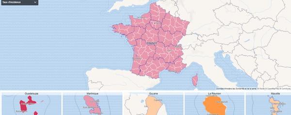 Carte du taux d'incidence en France au 19 octobre