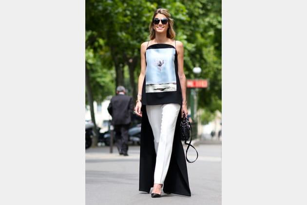 Street looks fashion week haute couture : géométrique