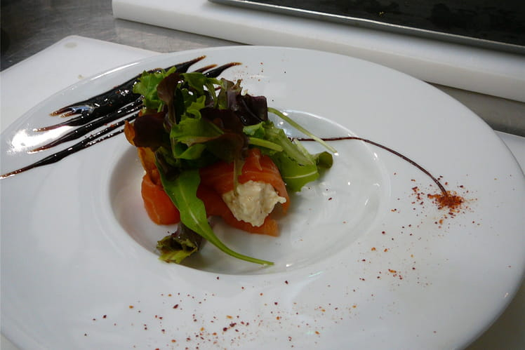 Millefeuille saumon fumé, pomme de terre et chèvre