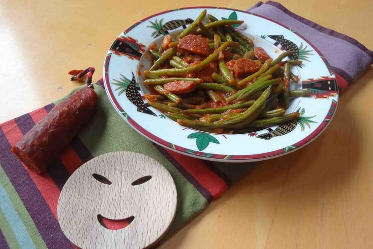 Recette de po l e de haricots verts au chorizo la - Cuisiner haricots verts surgeles ...