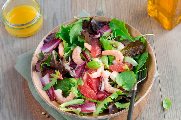 Salade fraîcheur, crevettes, agrumes