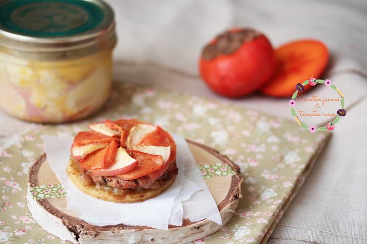 Tartelettes fines foie gras, kaki et pomme