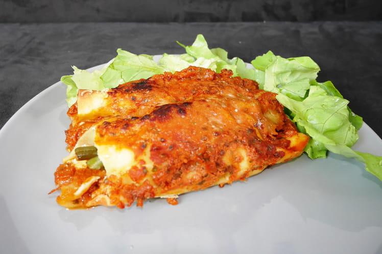 Cannelloni aux haricots verts, ricotta et jambon de parme