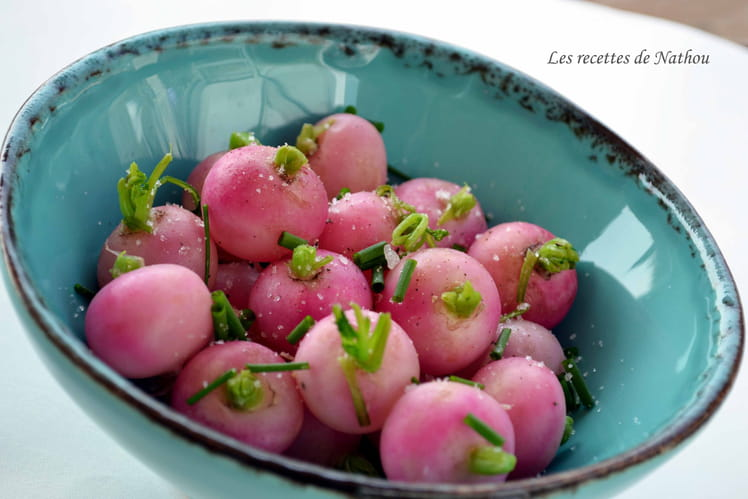 Radis glacés à la ciboulette et fleur de sel