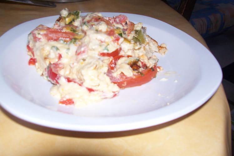 Clafoutis tomate-poivron-chèvre