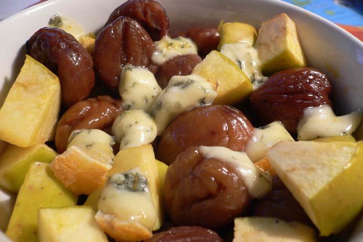 Dinde aux marrons, pommes et fourme d'Ambert