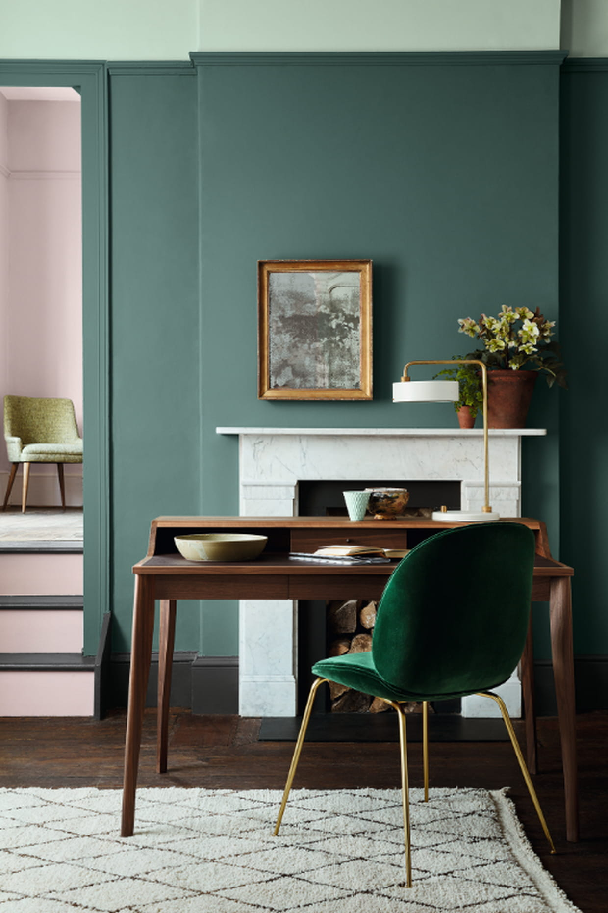 peinture pleat aquamarine et dorchester de little greene. Black Bedroom Furniture Sets. Home Design Ideas