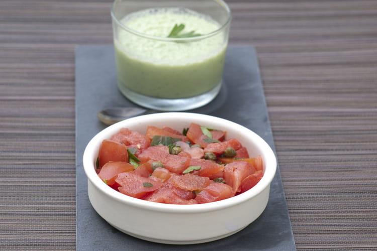 Tartare de tomate coeur de boeuf, pastèque et câpres
