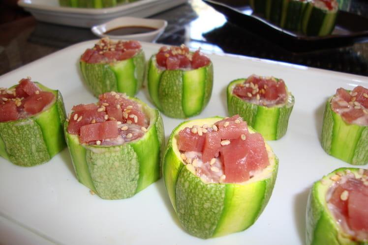 Bouchons de courgette au tartare de thon rouge