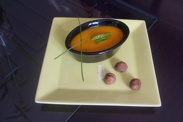 Velouté onctueux de potiron, carottes et châtaignes