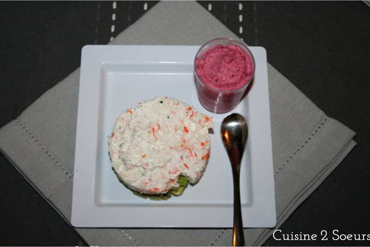 Verrines de mousse de betteraves et tartare surimi-avocat