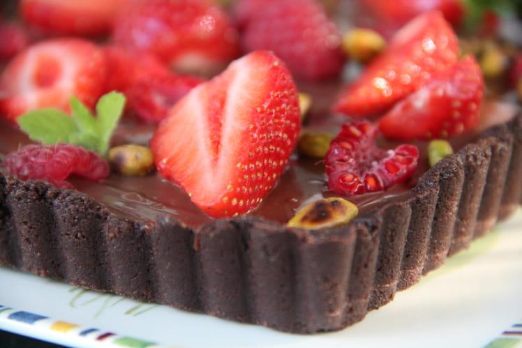 Tarte au chocolat et aux fruits rouges