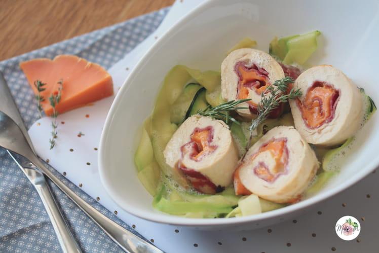 Roulés de poulet à la coppa et à la mimolette