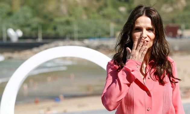 Juliette Binoche, au naturel à San Sebastian