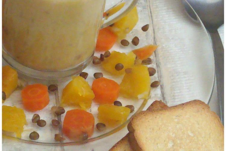 Velouté de butternut, lentilles et carottes