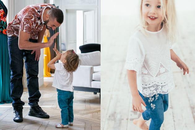 Un jean et une blouse blanche pour la fille de Karim Benzema