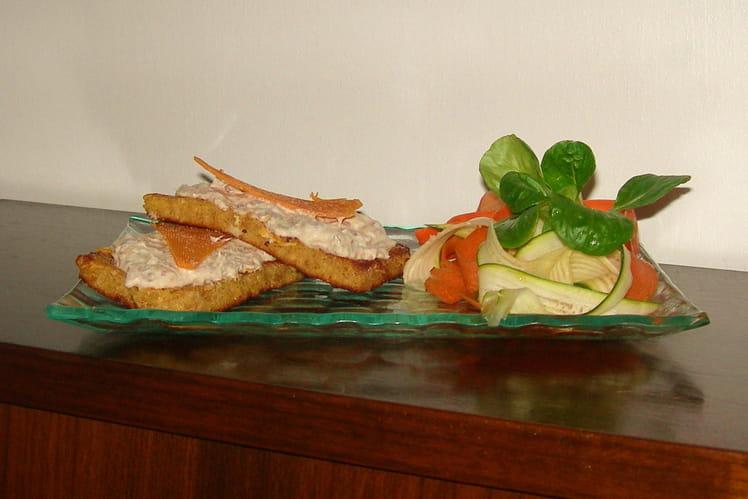 Tartines de pain perdu à la sardine et leur salade