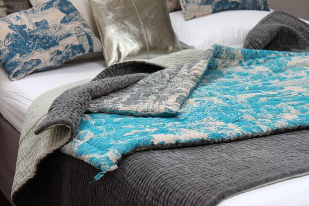 Bout de lit en coton imprimés Toile de Jouy par En Fil d'Indienne