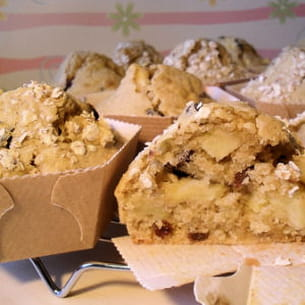 muffins flocons d'avoine, pommes et raisins secs