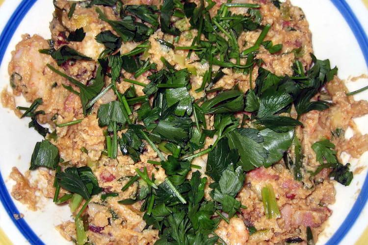 Crevettes et lardons à la téhinah