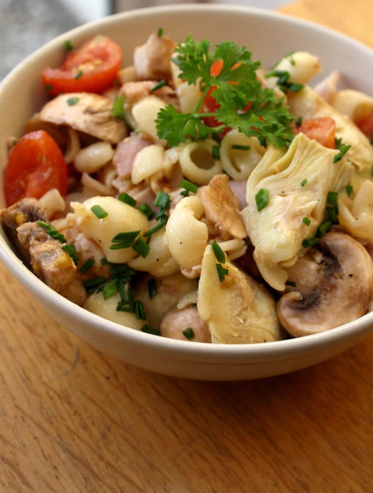 Recette de salade de p tes au coeur d 39 artichauts jambon - Cuisiner champignons de paris frais a la poele ...