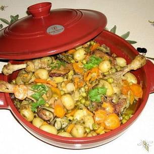 cuisses de canard et petits légumes au citron confit et coriandre façon tajine