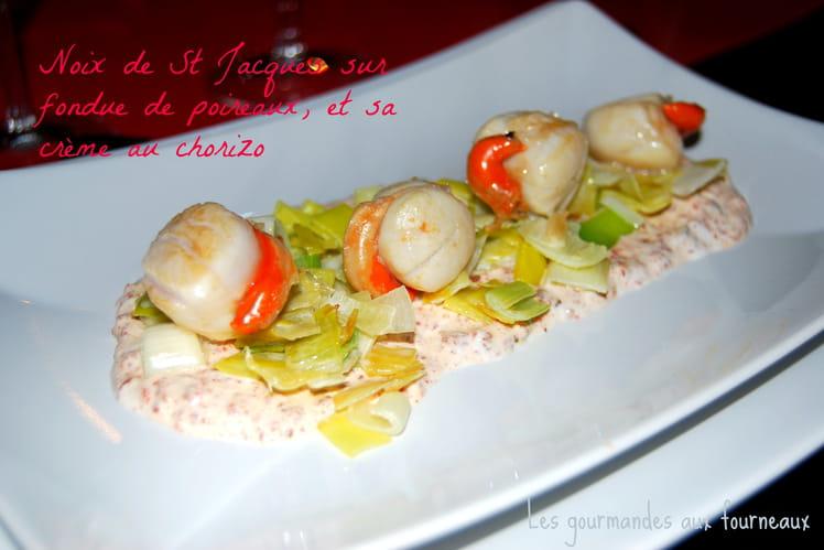 Noix de St Jacques, fondue de poireaux et chorizo