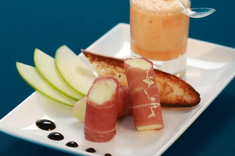 Cannelloni de jambon cru Compagnons du Goût  et émulsion de melon