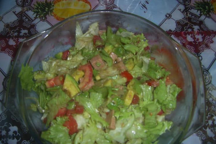 Salade de crudités et de luncheon au poulet