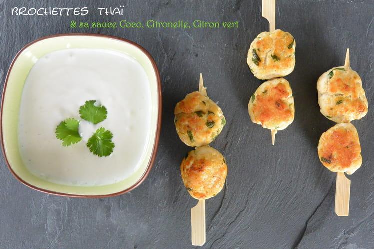 Brochettes thaï et sauce coco citronnelle citron vert