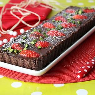 tarte aux 2 chocolats et fraises