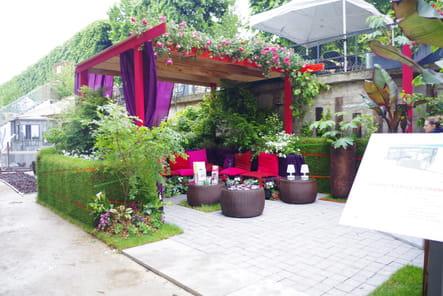 Un salon de jardin rose et violet