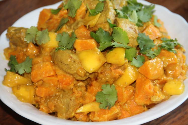 Colombo de porc à la mangue et aux patates douces