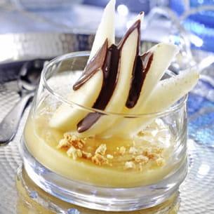 délice de poires, crème d'amande et chocolat