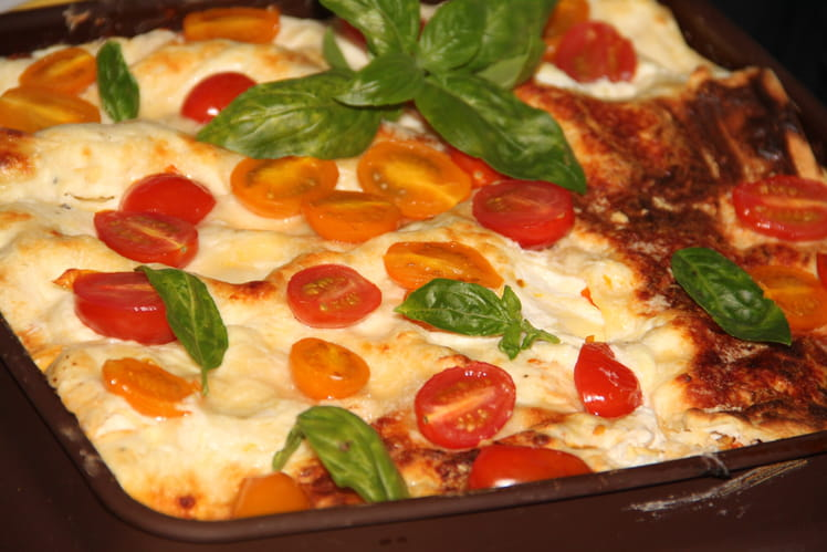 Lasagnes au poulet et pesto de tomates