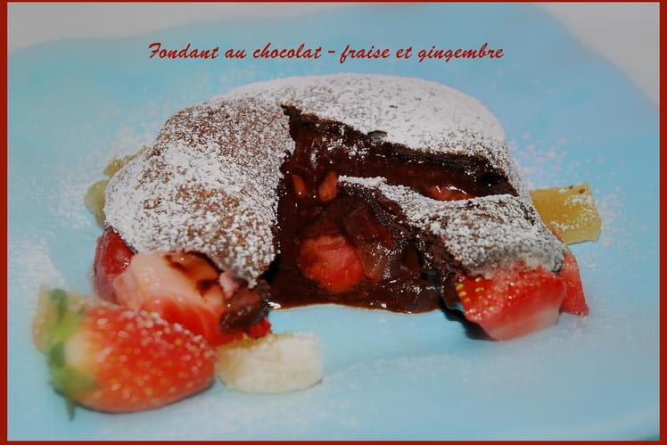 Fondant au chocolat, fraises et gingembre