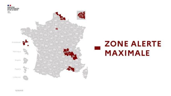 Carte des zones en alerte renforcée (couleur noire) au 6 octobre 2020