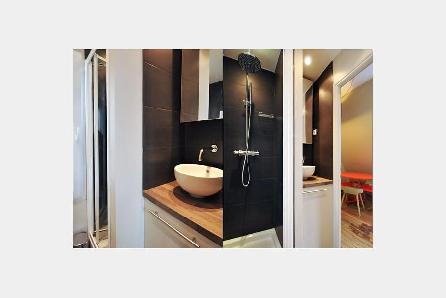 Une salle d 39 eau bien pens e tout le confort moderne dans un 20 m j - Deco petite salle d eau ...
