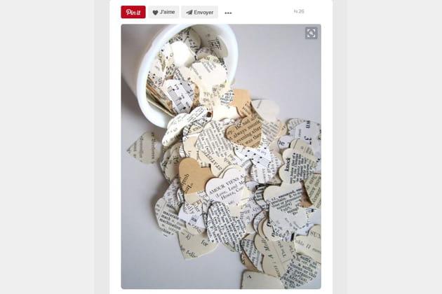Cœur en papier journal
